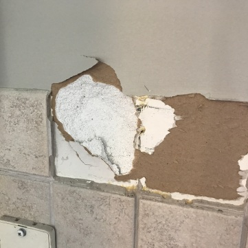 Tile #2 comes off, and along with it, most of the drywall.
